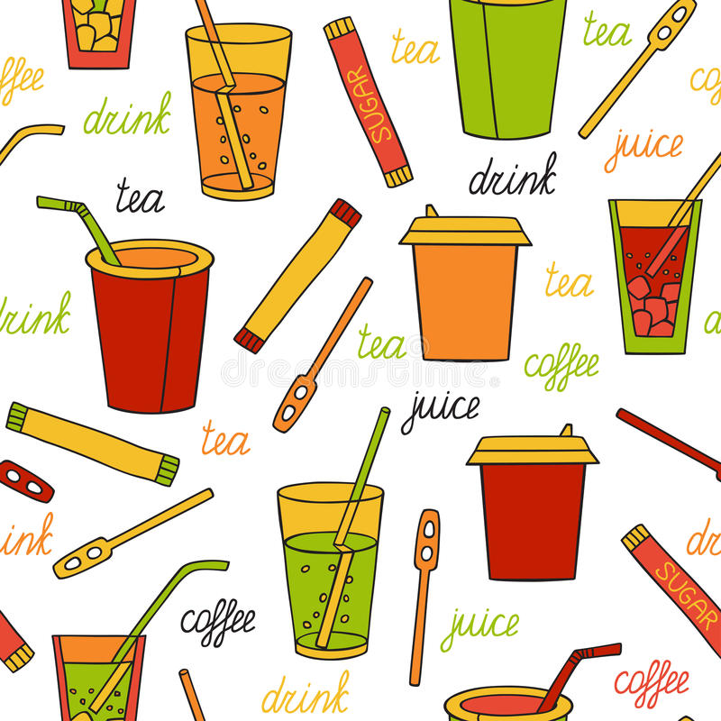 Seamless pattern with drinks. Tea, coffee, soda and lettering by hand. Vector illustration in cartoon style royalty free illustration