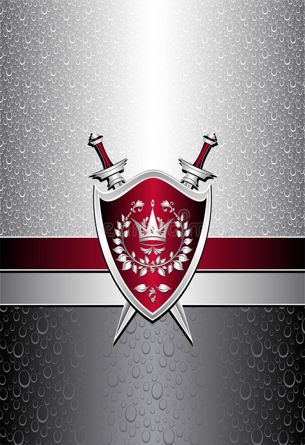 Seamless pattern with drops or shield swords on si stock illustration