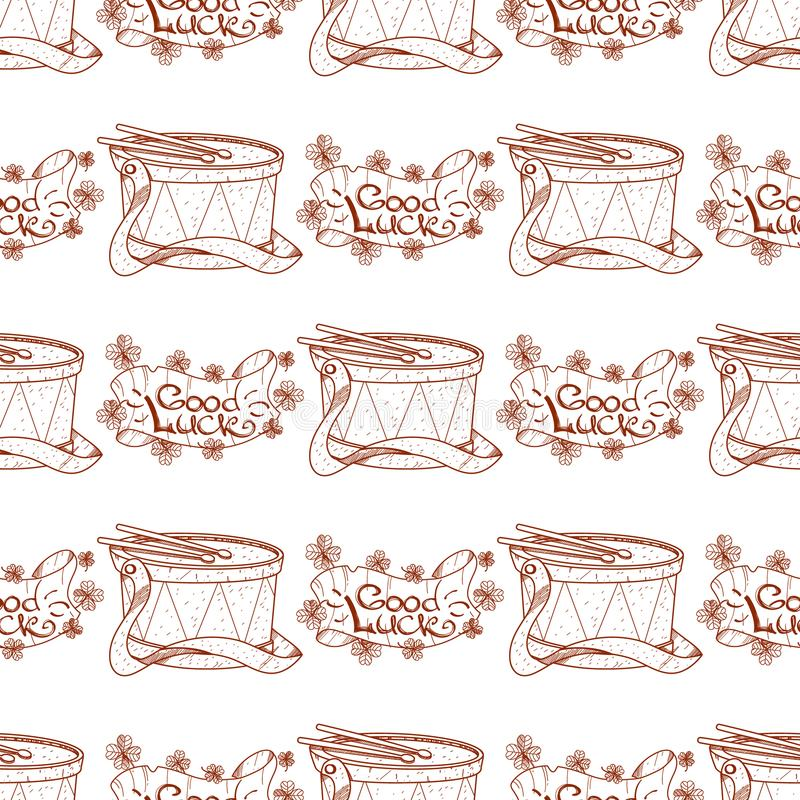 Seamless pattern with drum and banner of good luck.  royalty free illustration