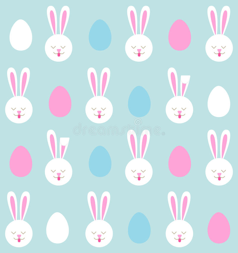 Seamless pattern of Easter bunnies and colored eggs stock illustration