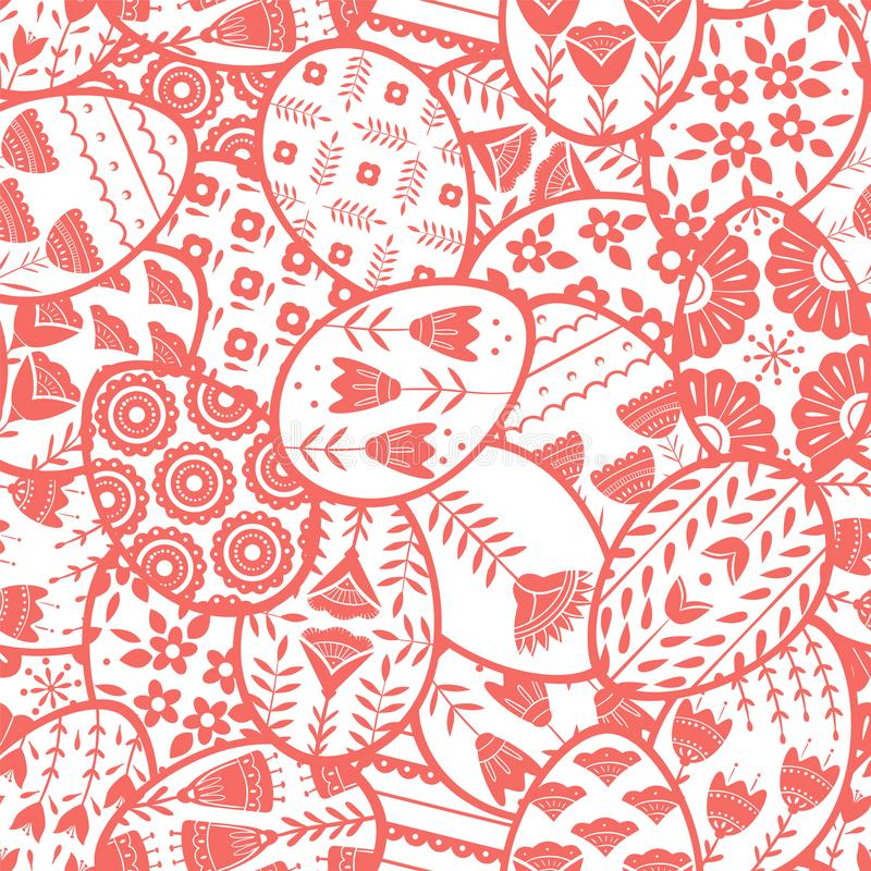 Seamless pattern with Easter eggs with floral and plant ornamental. Folk style collection, laconic vector graphic. Set of Easter eggs with floral and plant stock illustration
