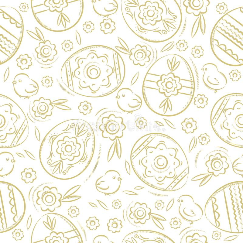 Seamless pattern with EASTER EGGS, flowers, leafs, chick. Hand-drawn elements. Easter holidays design. Can be used for fabric, vector illustration