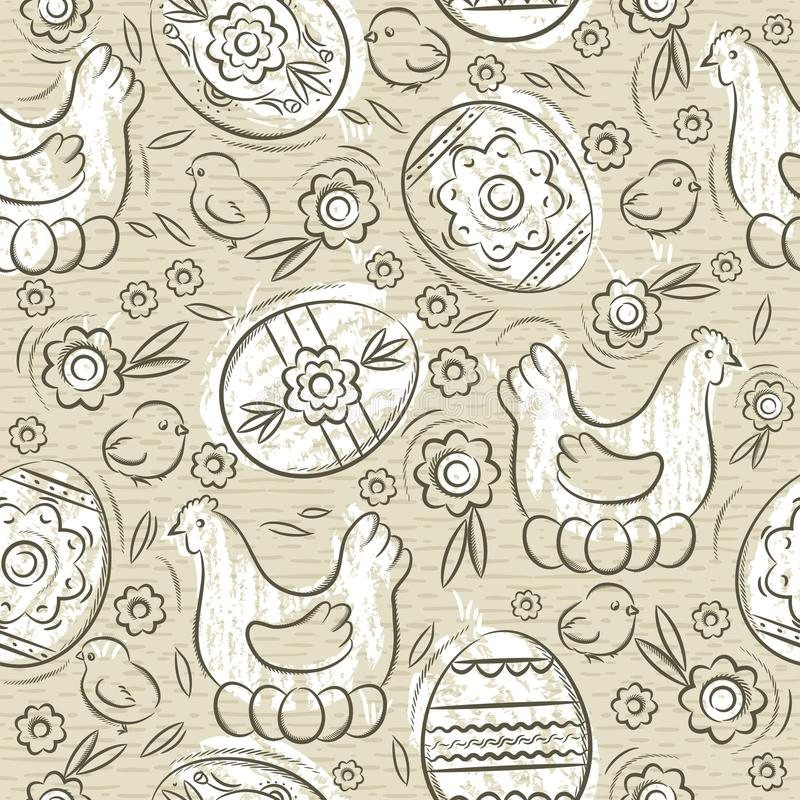 Seamless pattern with EASTER EGGS, flowers, leafs, chick and hen on beige background. Hand-drawn decorative elements. Easter royalty free illustration
