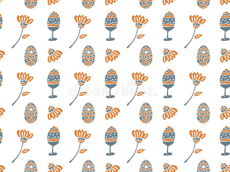 Seamless pattern for Easter from ornamental eggs on supports and without and abstract flowers in orange and gray colors on a white stock illustration
