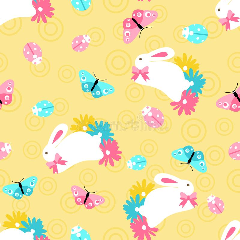 Seamless pattern with easter spring bunny in flowers on orange background vector illustration
