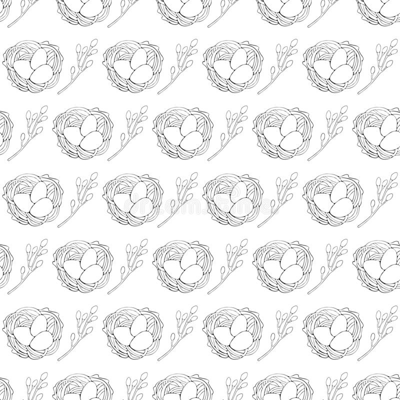 Seamless pattern of Easter willow and Easter egg in the nest drawn by a black line. Art line. Vector hand drawn line illustration royalty free stock photo