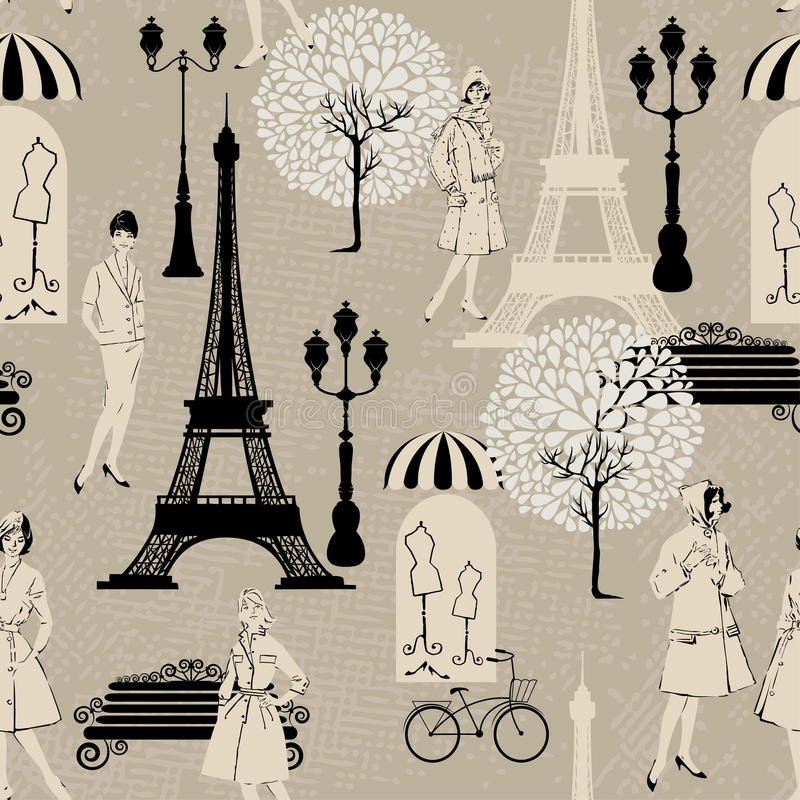 Seamless pattern - Effel Tower, street lights. Old fashioned girls - Background for fashion or retail design in vintage style stock illustration