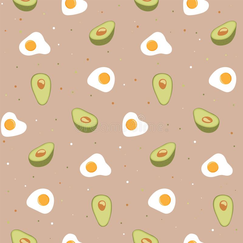 Seamless pattern with egg and avocado. vector illustration