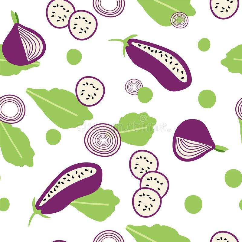 Seamless pattern with eggplants in flat syle stock illustration