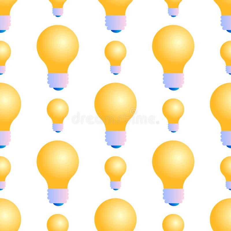 Seamless Pattern of Lightbulbs on White Background. Seamless Pattern of Electric Burning Lightbulbs on White Background. Burning Bulb. Abstract Texture for stock illustration