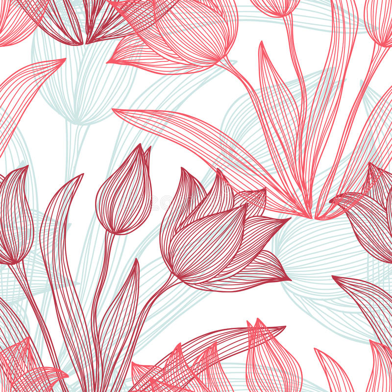 Seamless pattern. Elegant seamless pattern with decorative pastel tulip flowers, design element. Beautiful floral background. Floral pattern for wedding vector illustration