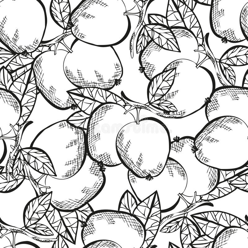 Seamless pattern. Elegant seamless pattern with hand drawn decorative apples, design elements. Can be used for invitations, greeting cards, scrapbooking, print royalty free illustration