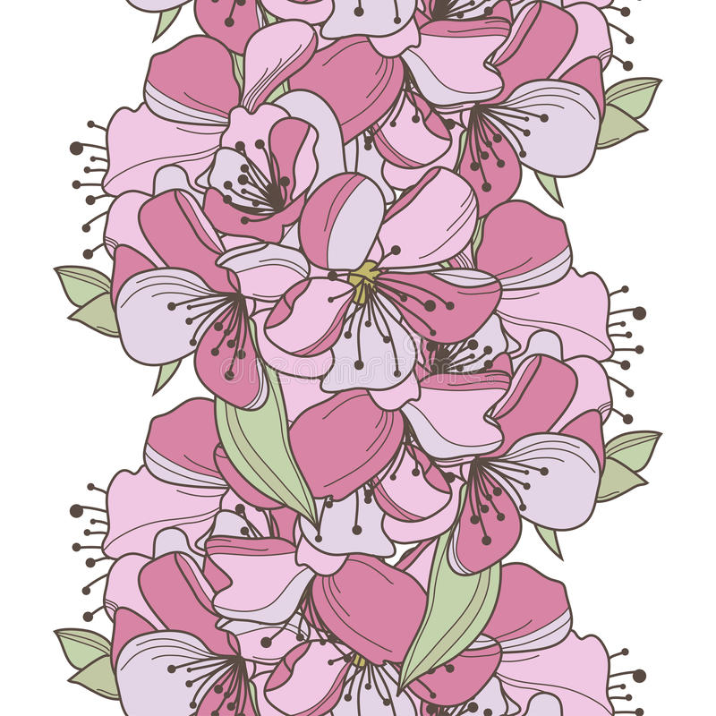 Seamless pattern. Elegant seamless pattern with hand drawn decorative cherry flowers, design elements. Floral pattern for wedding invitations, greeting cards royalty free illustration