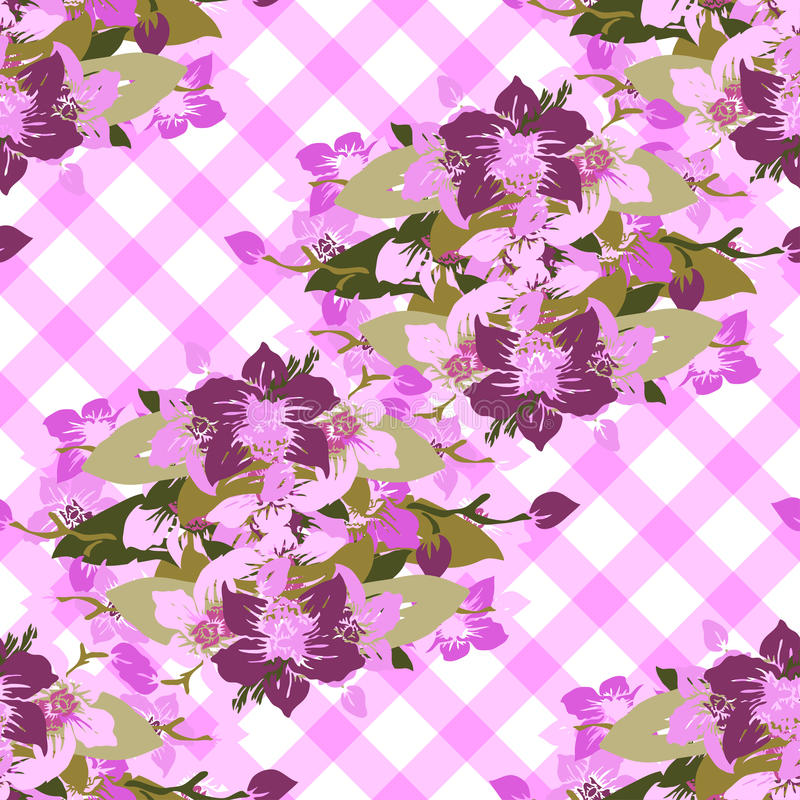 Seamless pattern. Elegant seamless pattern with hand drawn decorative orchid flowers, design elements. Floral pattern for wedding invitations, greeting cards royalty free illustration