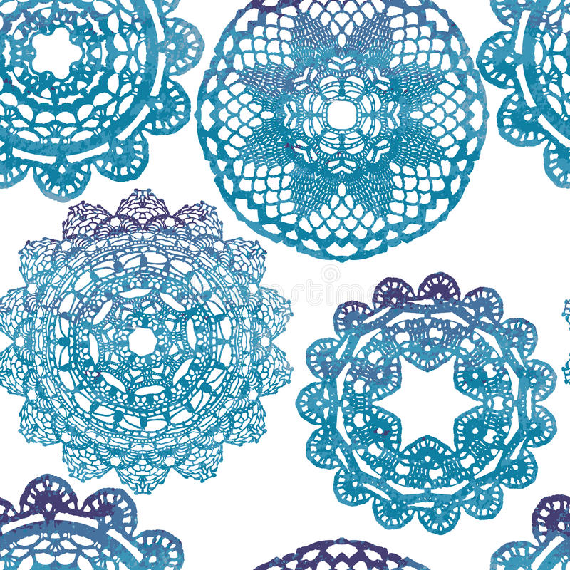 Seamless pattern. Elegant lacy watercolor doilies. vector illustration