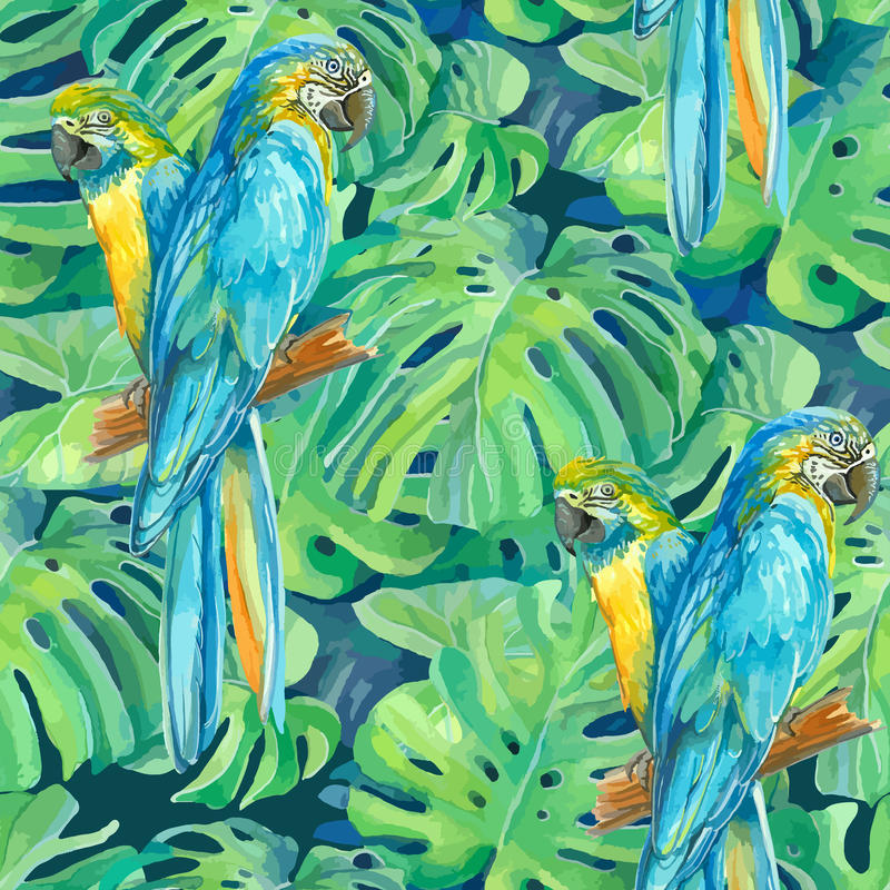 Seamless pattern element of two ara parrots and stock photos