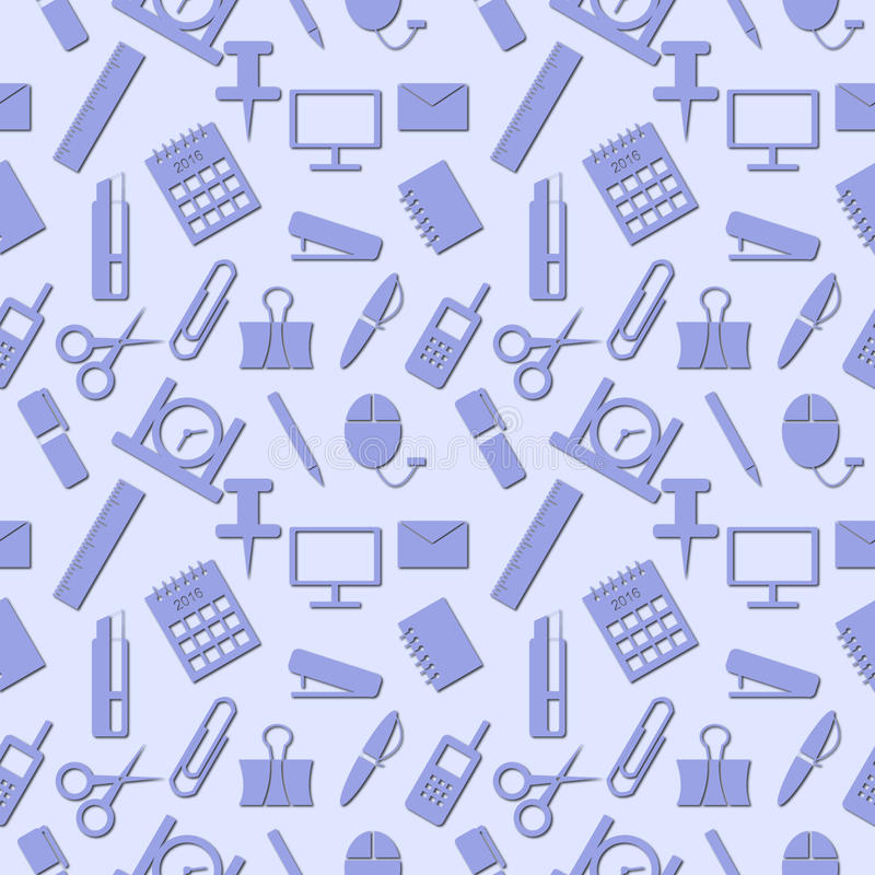 Seamless pattern with elements of blue office supplies over light blue background vector illustration