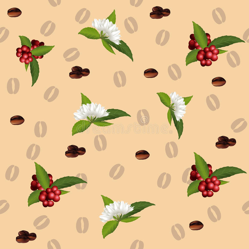 Seamless pattern of the elements of coffee royalty free illustration