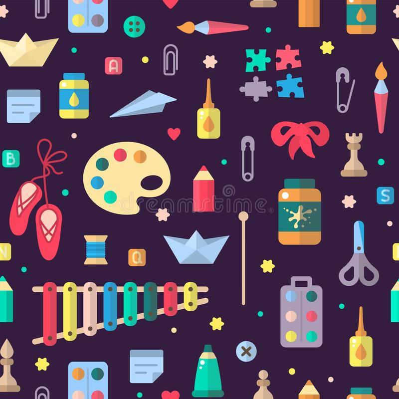Seamless pattern with elements for kids creative activity in flat style stock illustration