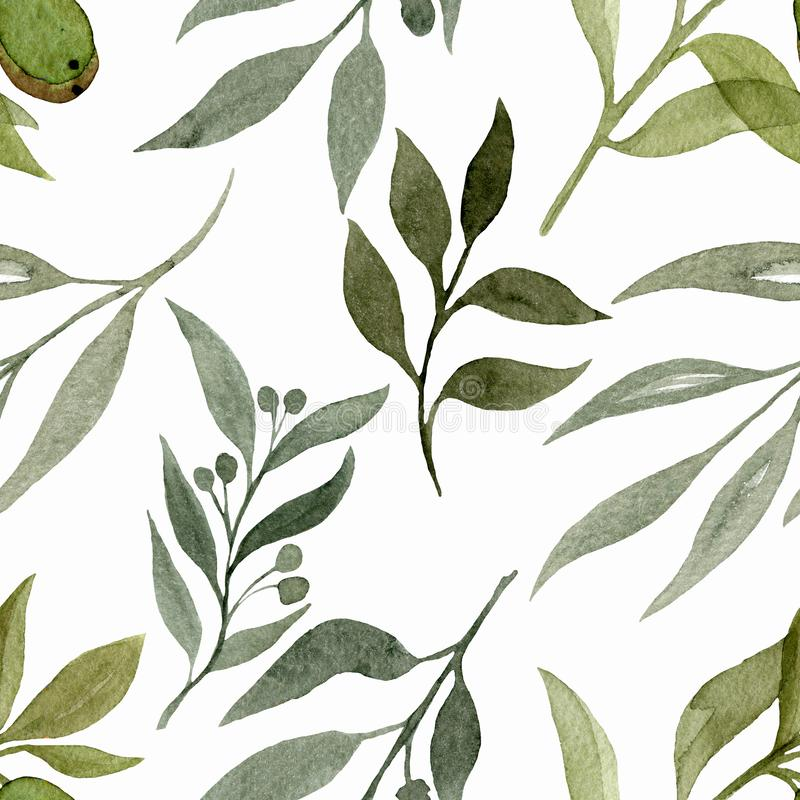Seamless pattern with elements of plants. Watercolour illustration of hand painted. Cute design for wallpaper, textile, fabric vector illustration