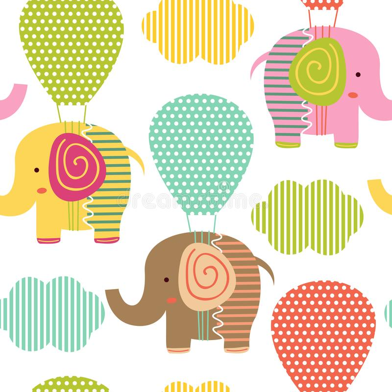 Seamless pattern with elephant on air balloon vector illustration