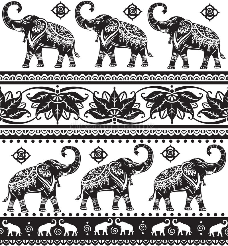 Seamless pattern with elephants. Seamless pattern with decorated elephants and lotus flower royalty free illustration