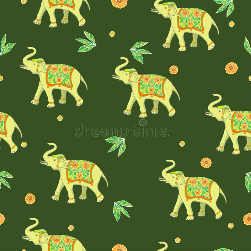 Seamless pattern with elephants and flowers. Vector graphics. Seamless pattern with elephants and flowers. Vector image royalty free stock image