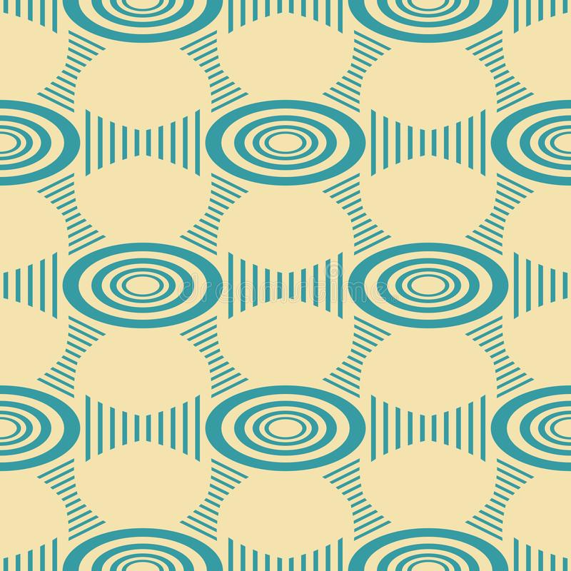 Seamless pattern of ellipses and hourglass shaped figures. Abstract seamless geometric pattern of ellipses and hourglass shaped striped figures in vintage colors stock illustration