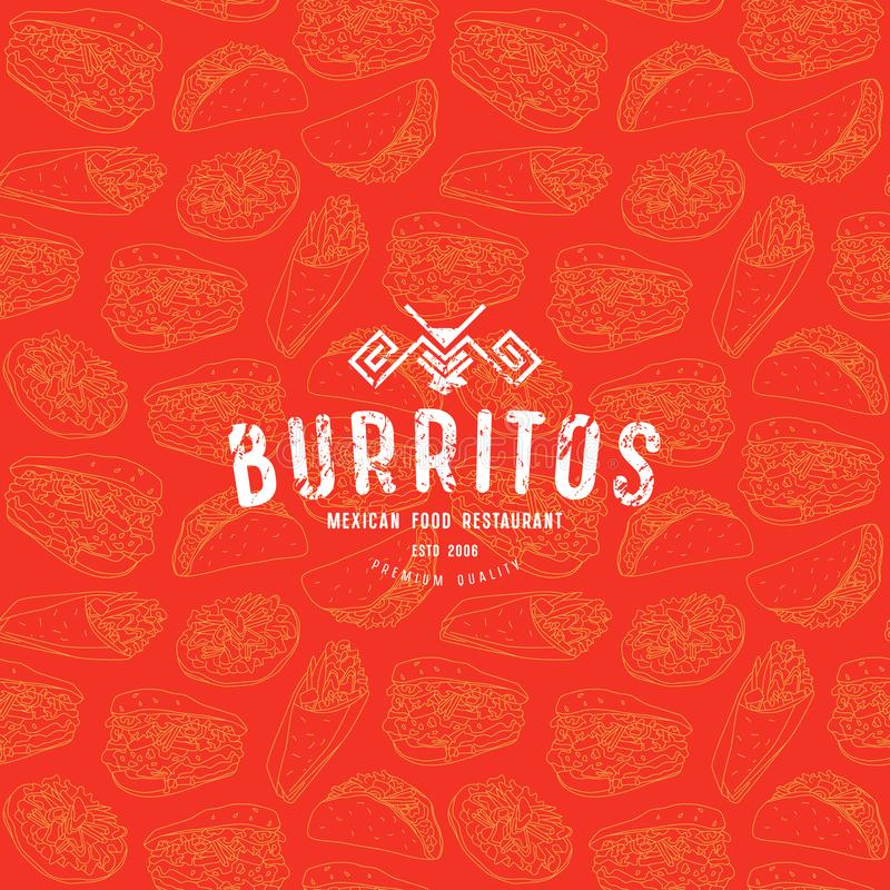 Seamless pattern and emblem for traditional mexican food restaurant stock illustration