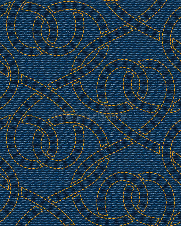 Vector seamless pattern embroidered on blue denim texture background stock illustration