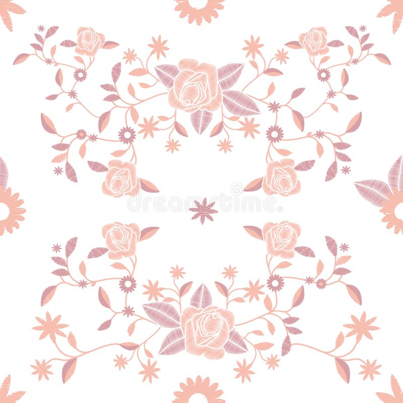 Seamless pattern of embroidered flowers on white background. royalty free illustration