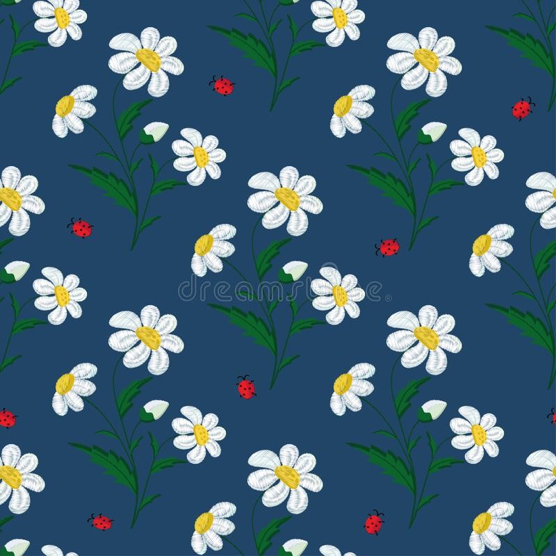Seamless pattern embroidered stitch daisy flowers and ladybugs on a blue background. Vector stock illustration
