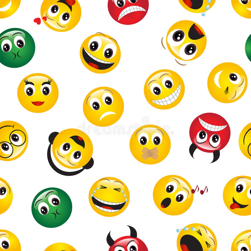 Download Seamless Pattern With Emoticons Stock Vector - Illustration of decoration, feelings: 34027892
