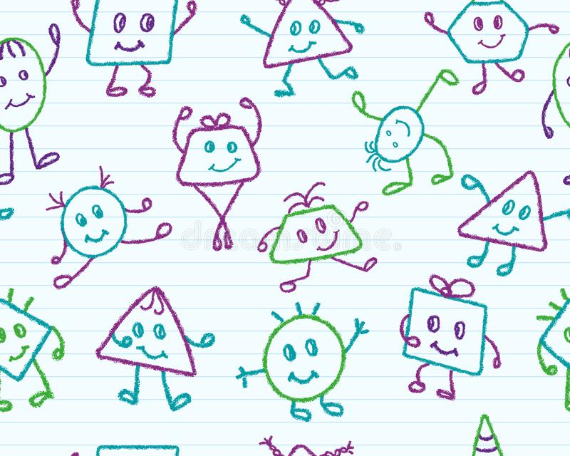 Seamless pattern with emotional geometric men in different poses and movements royalty free stock photo