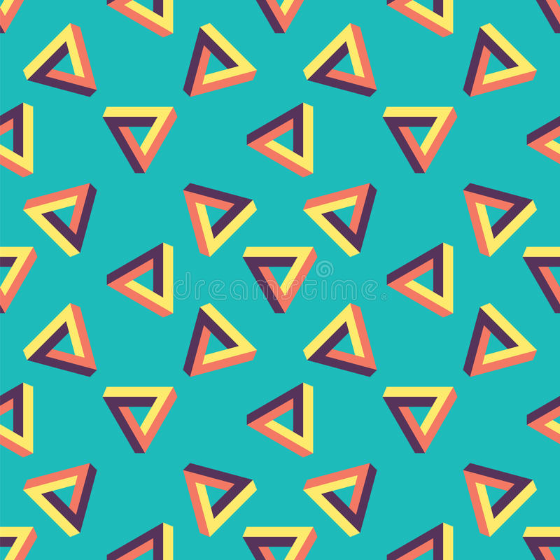 Seamless pattern of endless triangles. Background - optical illusion for mathematical tasks or logic puzzles royalty free illustration