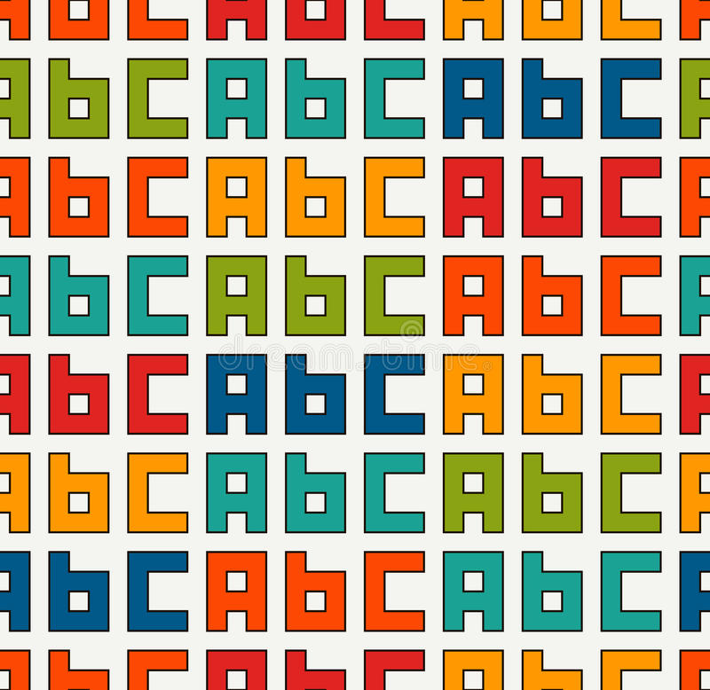 Seamless pattern with english A, B, C letters. Colorful pattern with font characters for children. Typography wallpaper. royalty free illustration