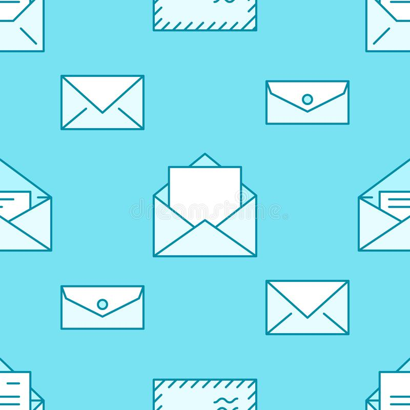 Seamless pattern with envelopes flat line icons. Mail background, message, open envelope with letter, email vector stock illustration