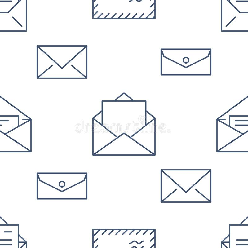 Seamless pattern with envelopes flat line icons. Mail background, message, open envelope with letter, email vector vector illustration