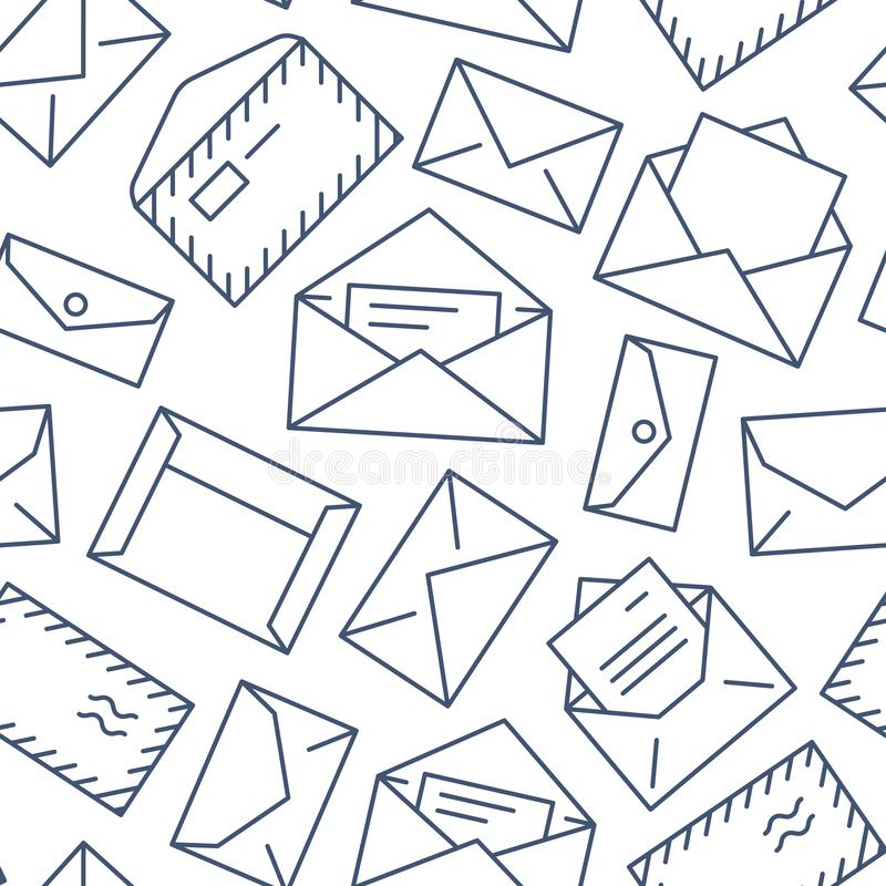 Seamless pattern with envelopes flat line icons. Mail background, message, open envelope with letter, email vector royalty free illustration