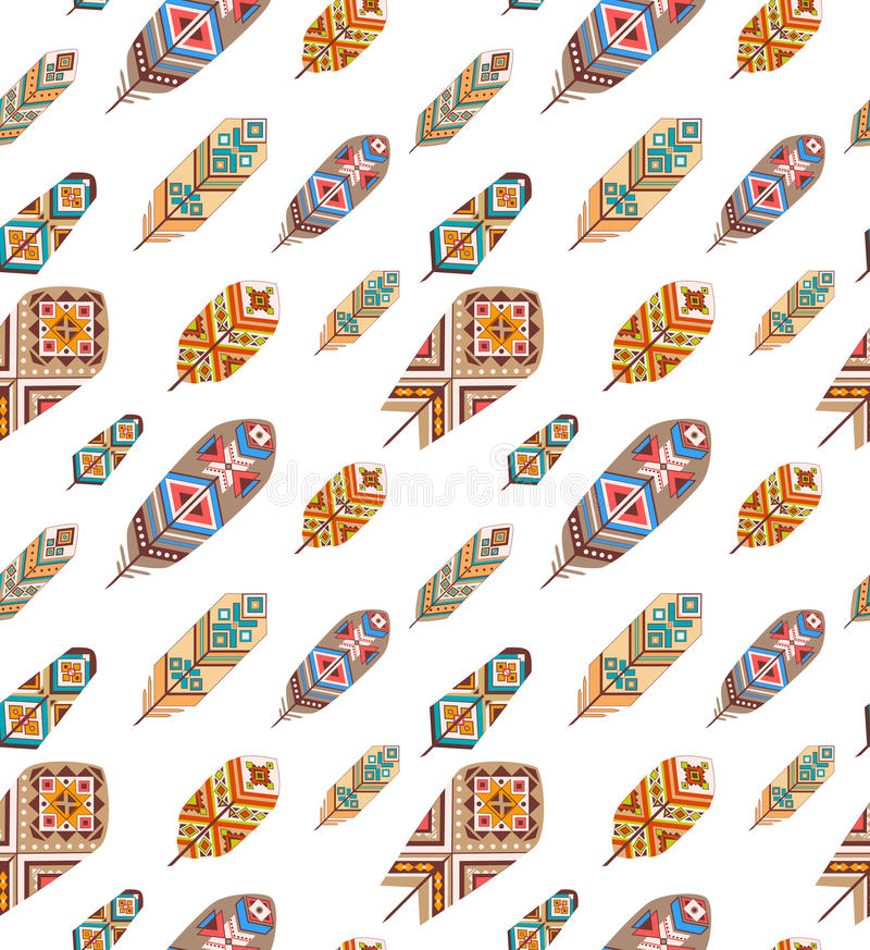 Seamless pattern with ethnic feathers. Colored decorative feathers. Boho style. Vector background royalty free illustration