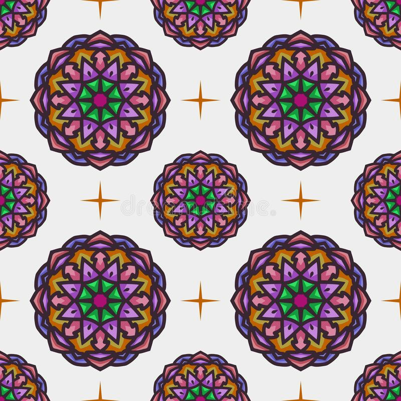 Seamless pattern with ethnic mandala art ornament. Mandala seamless pattern background. Floral mandala pattern background stock illustration