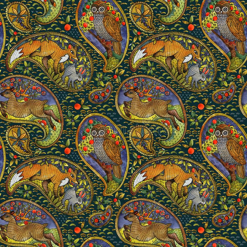 Seamless pattern with ethnic motif forest animals. watercolor folklore illustration. paisley element background. Seamless pattern with ethnic motif forest royalty free stock photo