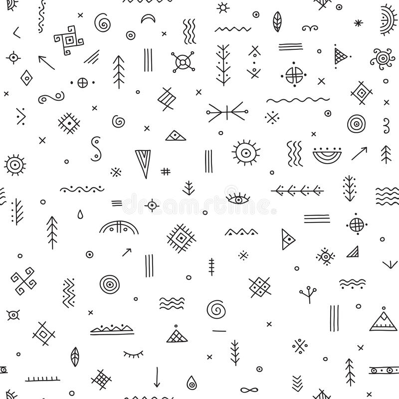 Seamless Pattern With Ethnic Tribal Symbols Stock Vector