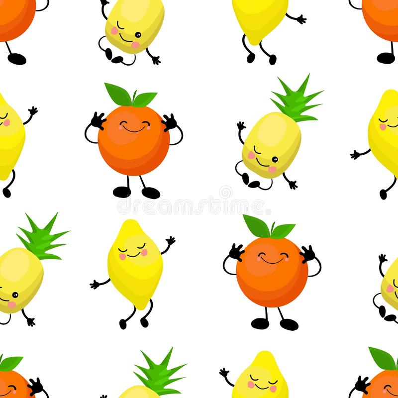 SEAMLESS pattern exotic fruits banana, orange, pineapple durian fruit cherry red Funny cute faces character. Kitchen textile or stock illustration
