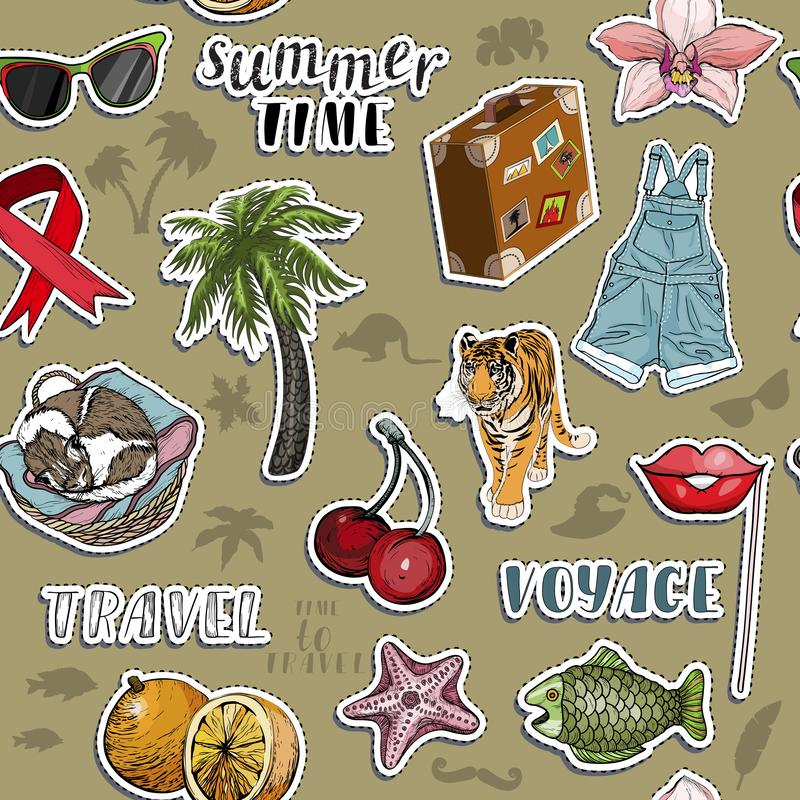 Seamless pattern with exotic sticker set. Summer travel royalty free illustration