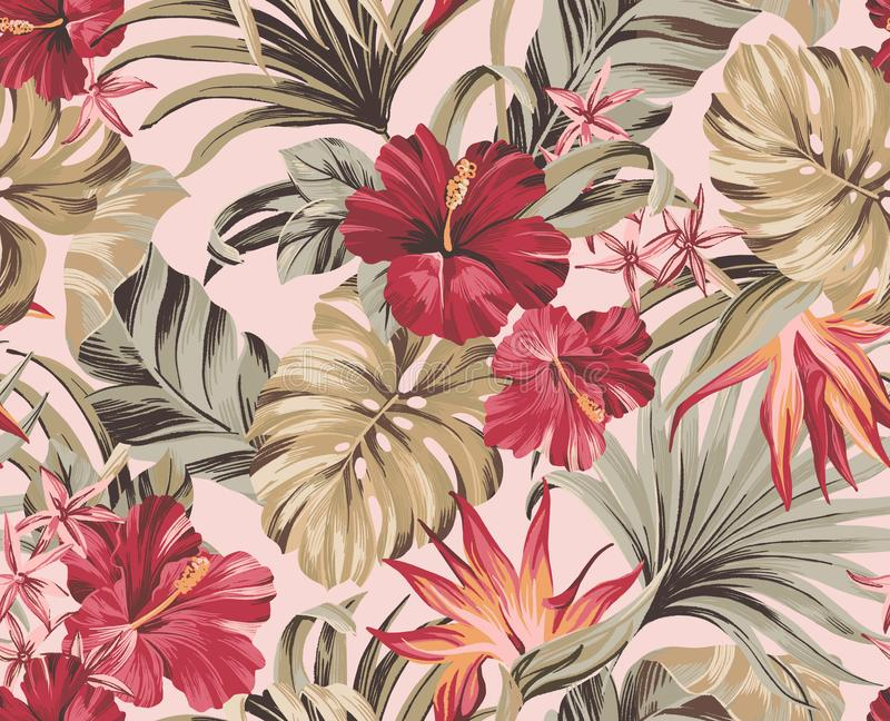 Seamless pattern Exotic tropical flowers in trendy colors stock photography