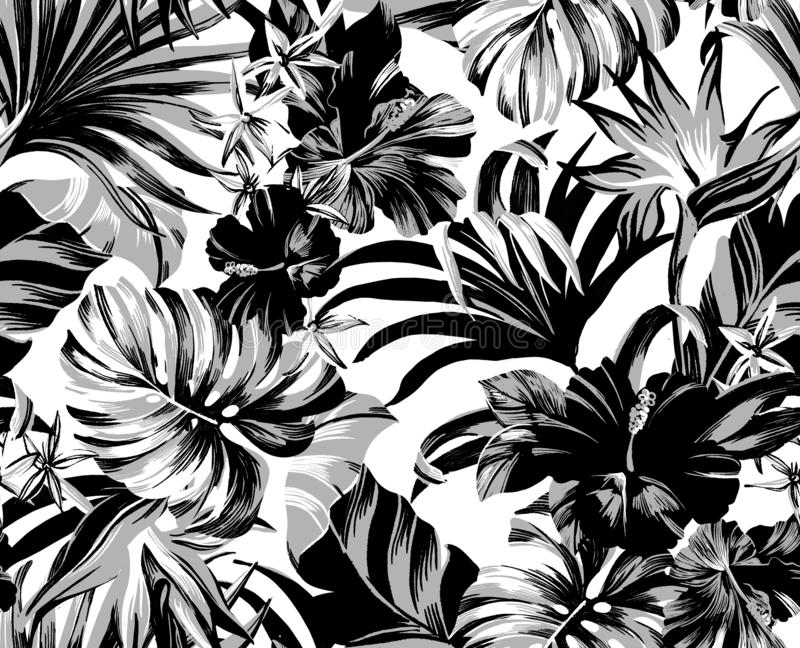 Seamless pattern Exotic tropical flowers in trendy colors royalty free stock image