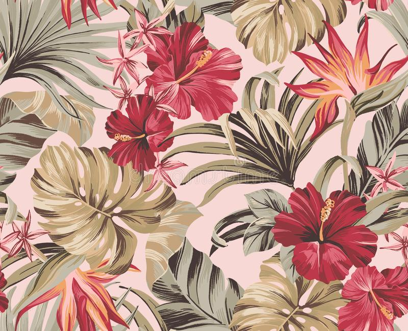 Seamless pattern Exotic tropical flowers in trendy colors stock image