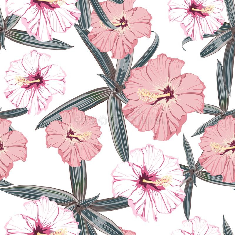Seamless pattern with exotic tropical palms and hibiscus flowers. White background. Tropical illustration. Jungle foliage stock illustration
