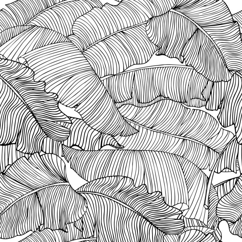 Seamless pattern of exotic, white banana leaves with a black outlines isolated on a transparent background. stock illustration